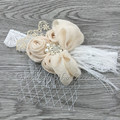 Handband Flor de Satén A Juego Que Chispea Rhinestone Perlas de la Venda Del Cordón Del Bebé Venda de La Venda de La Vendimia