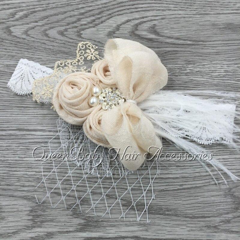Handband Satin Fleur Correspondant Étincelles Strass Perles sur Dentelle Bandeau Bébé Bandeau Vintage Bandeau