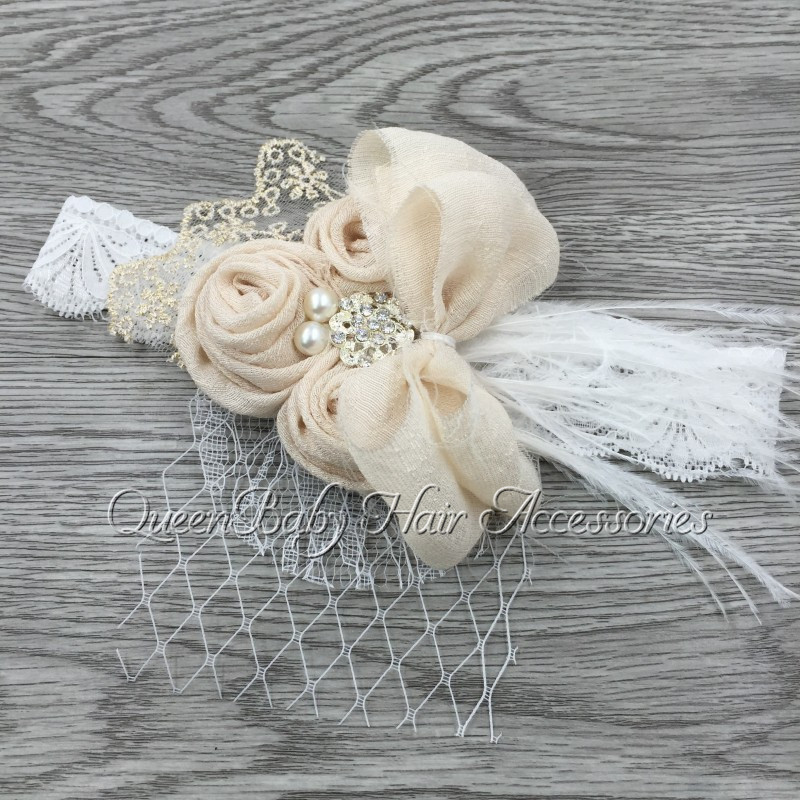 Handband Satin Flower Matching Sparking Rhinestone Pearls on Lace Headband Baby Headband Vintage Headband retail triple satin flower rosettes feather baby headband vintage burlap lace hairband kidocheese