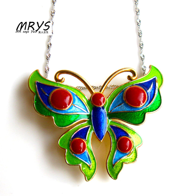 New Green Butterfly Ethnic Cloisonne Enamel 925 sterling Silver Chain Necklace Pendant Women Girls Chistmas Gift Fashion Jewelry