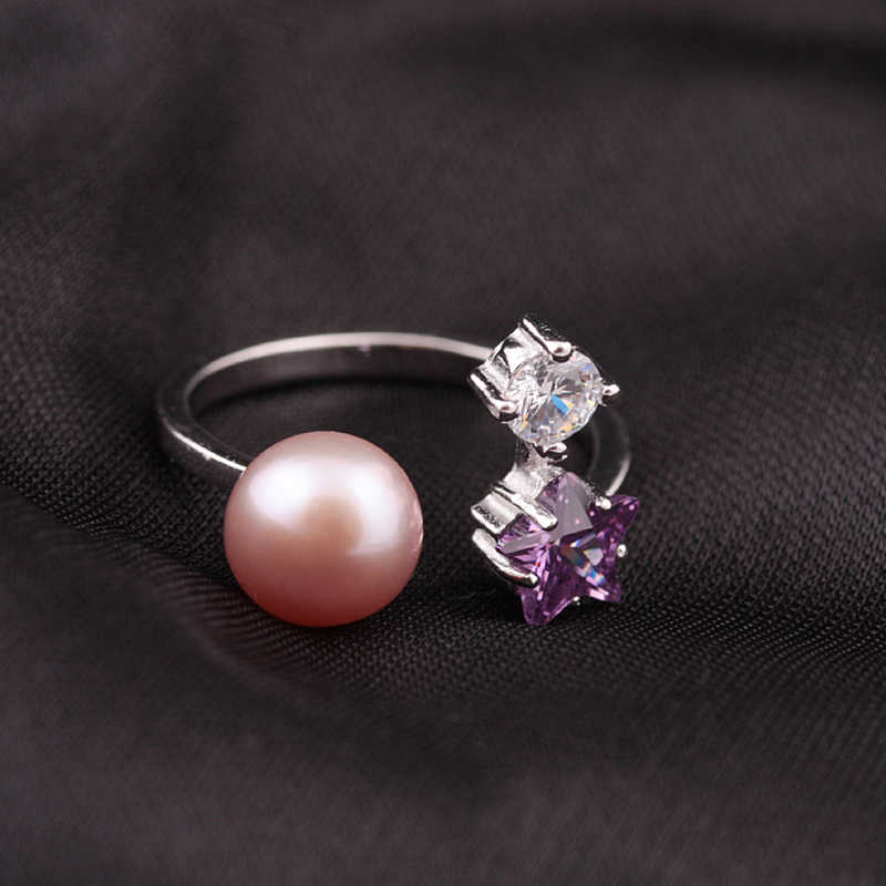 [MeiBaPJ] 925 argent perle d'eau douce anneau réglable étoile doigt perle Micro mosaïque anneau bijoux pour femmes cadeau boîte