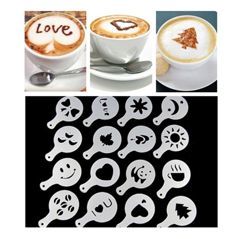 16pcs Coffee Drawing Cappuccino Mold Fancy Coffee Printing Model Fancy Coffee Stencil Cake Stencils Powdered Sugar Sieve Tool A3