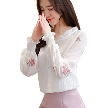 цена Women's Blouse Fashion Embroidered Lady Lantern Sleeve Chiffon Shirt Plus Size Women Clothing Blusa