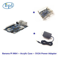 One Complete Kits Banana Pi M64 Banana Pi Board+Acylic case+DC power supply