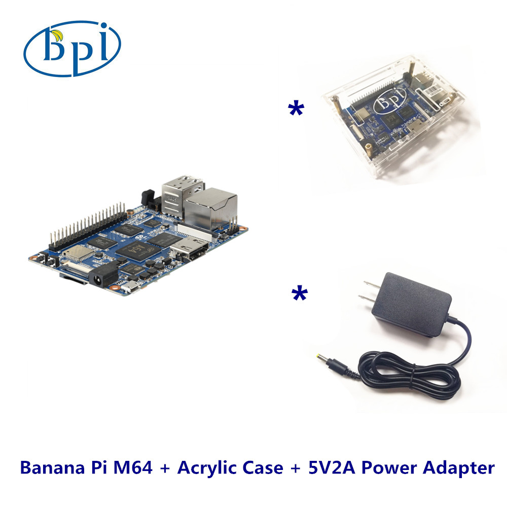One Complete Kits Banana Pi M64 Banana Pi Board+Acylic case+DC power supply m64 m 216pvava12fg