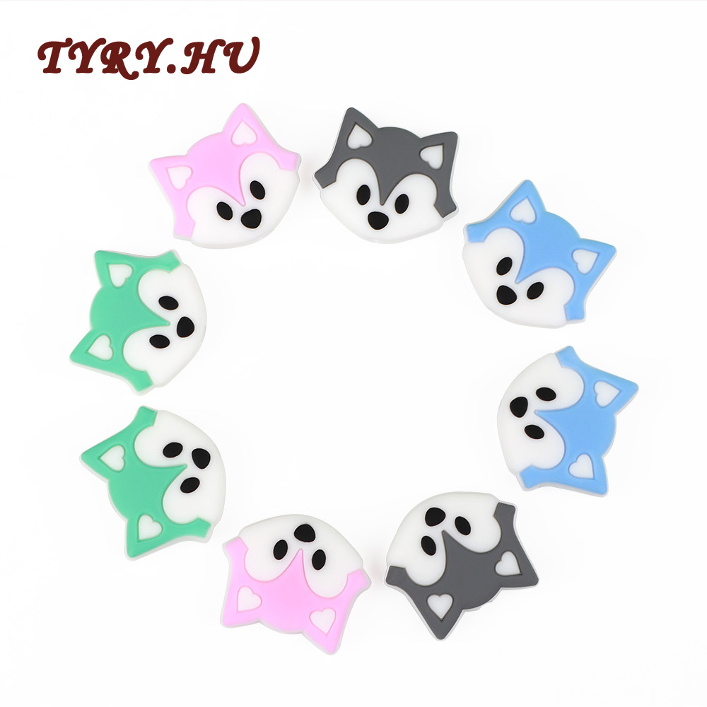5Pcs/lot Cartoon Fox Baby Teething Silicone Beads Making Baby Nursing Chewing Pacifier Chain Food Grade Baby Teether