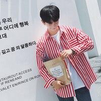 Men Shirts Striped Long Sleeve Blouse Shirt Korean Vertical Striped Loose Black Red Silk Shirts Autumn Fall Casual Male Shirt