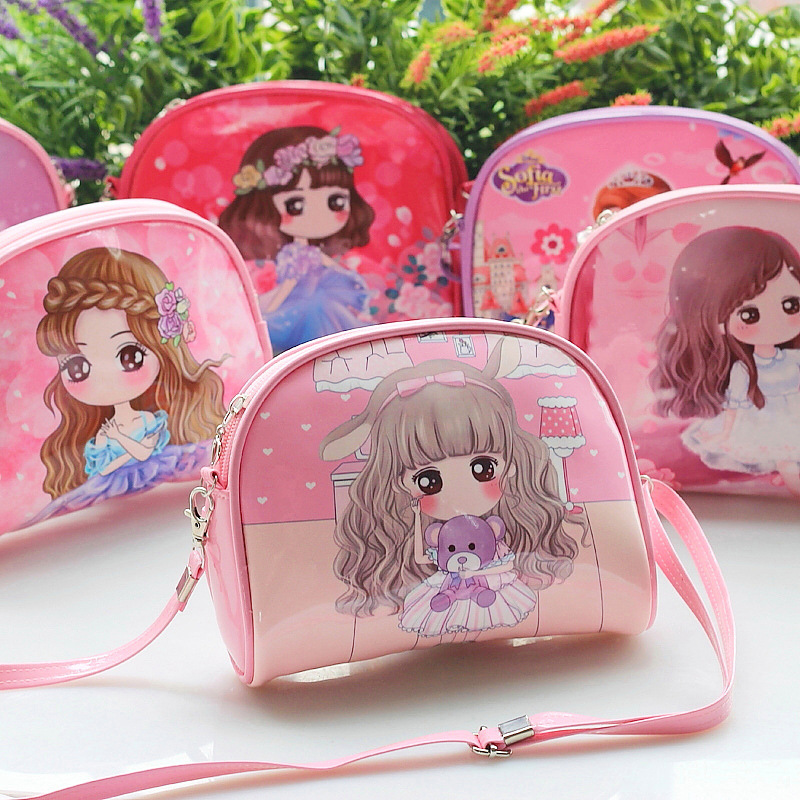 Gilrs Mini PU Leather Crossbody Bags Kids Cute Cartoon Character Prints Princess Phone Holder Shoulder Bags Small Messenger Bag
