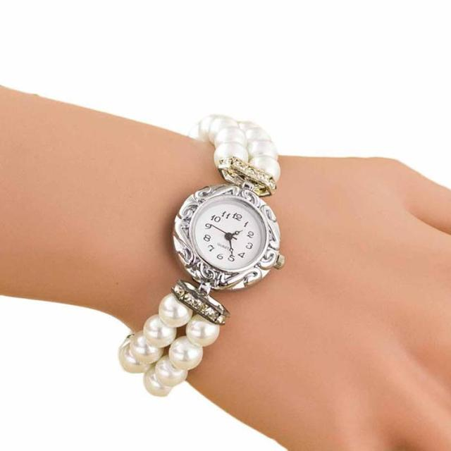 Newly Design Women Girl's Fashion Brand New Pearl Beads Quartz Bracelet Watch Go