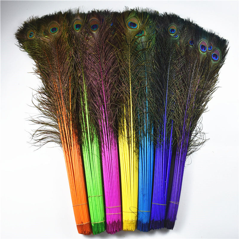 Beautiful 70 80cm28 32inch Natural Dyed Peacock Feathers For Crafts
