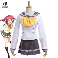 ROLECOS Japanese Anime Love Live Sunshine Cosplay Costume Takami Chika Girls Sailor Uniforms Love Live Aqours