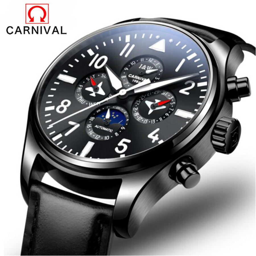 Carnival New Pilot Mens Automatic Self-Wind Wrist Watch Waterproof Date Top Luxury Brand Genuine Leather Male Mechanical Watches original binger mans automatic mechanical wrist watch date display watch self wind steel with gold wheel watches new luxury