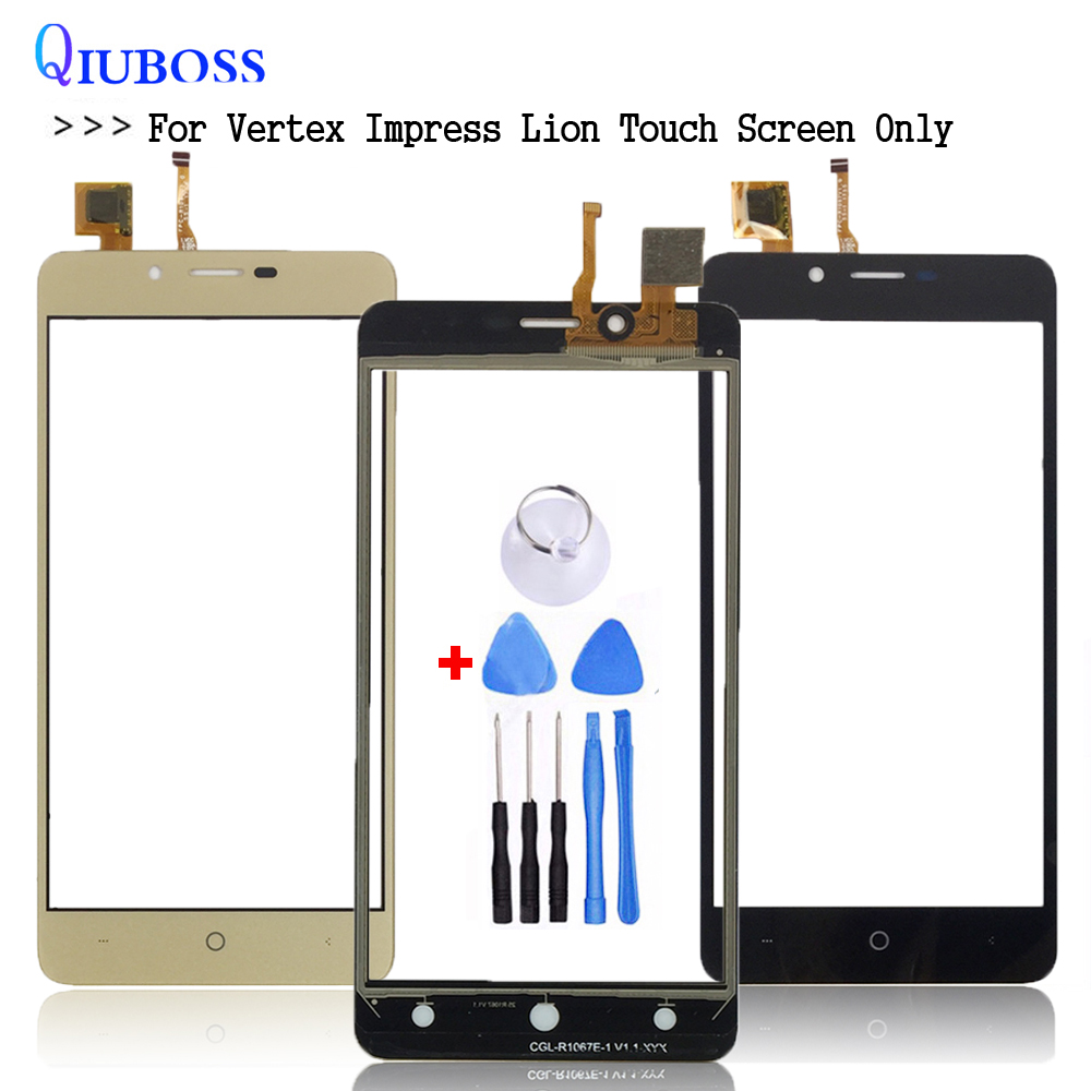 Black/Gold For Vertex Impress Lion Touch Screen Glass 100% Guarantee New Glass Panel For Vertex Impress Lion 3G Touch+free Tools