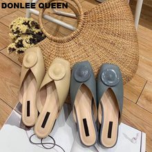 DONLEE QUEEN 2019 Spring Summer Mule Shoes Women Block Heel Slippers Slip On Casual Loafers Square Toe Brand Outdoor Slides Shoe