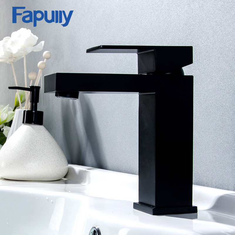 Fapully Single Handle Basin Sink Faucet Bathroom Mixer Taps Black Color Deck Mounted Hot And Cold Water Tap Square Shape