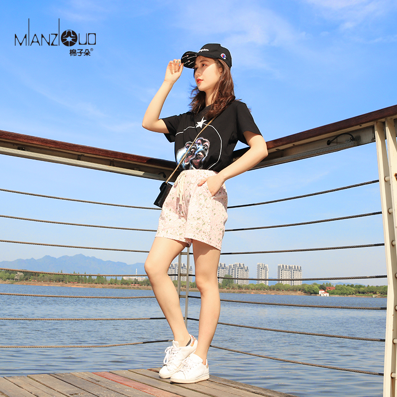 2019 New Summer Woman Shorts Casual And High Elastic Cotton Beach Style Shorts With Belt Flowerprint Plus Size For Freeshipping