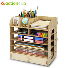 Actionclub DIY Desktop Storage Box Documents Books Storage Shelf Multi-layer Finishing Rack Desktop Book Shelf Office Supplies(China)