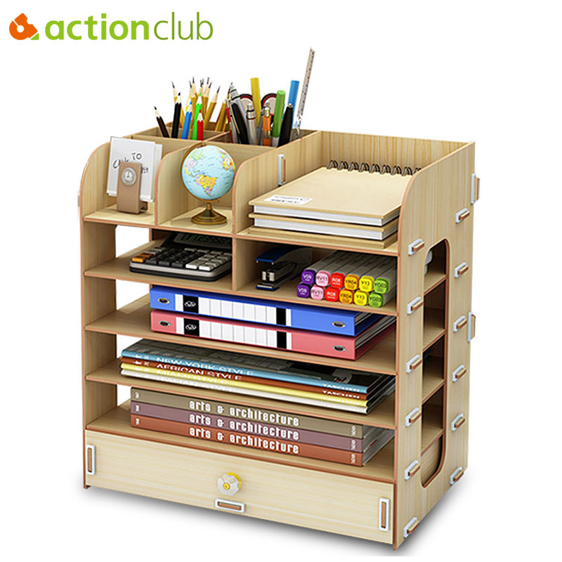 Actionclub DIY Desktop Storage Box Documents Books Storage Shelf Multi-layer Finishing Rack Desktop Book Shelf Office Supplies ...