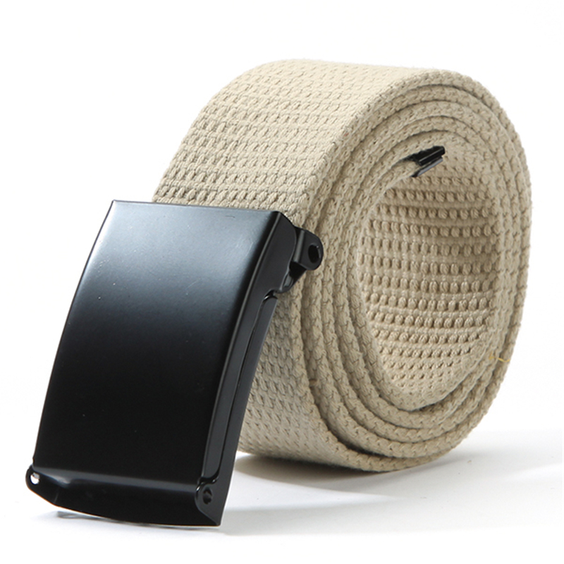 Cotton Canvas Metal Buckle Belt Waist Waistband Cintos Men Women Unisex Boys Candy Colors Plain Webbing Accessories