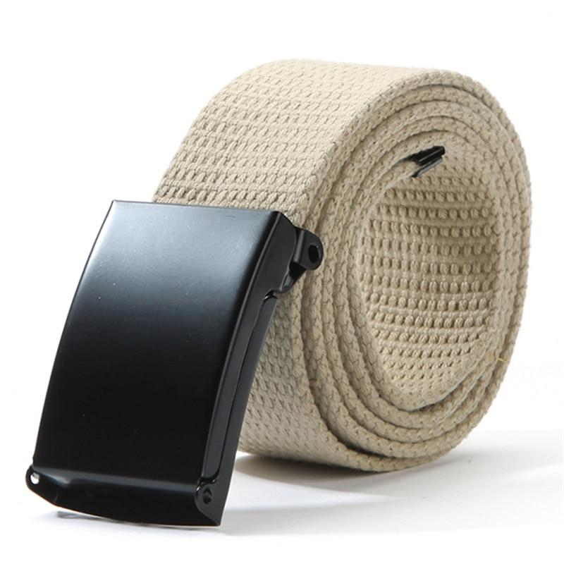 Cotton Canvas Metal Buckle   Belt   Waist Waistband Cintos Men Women Unisex Boys Candy Colors Plain Webbing Accessories