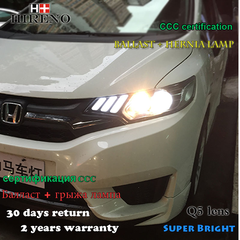 Hireno Headlamp for 2014-2017 Honda Fit jazz Headlight Assembly LED DRL Angel Lens Double Beam HID Xenon 2pcs 2pcs purple blue red green led demon eyes for bixenon projector lens hella5 q5 2 5inch and 3 0inch headlight angel devil demon