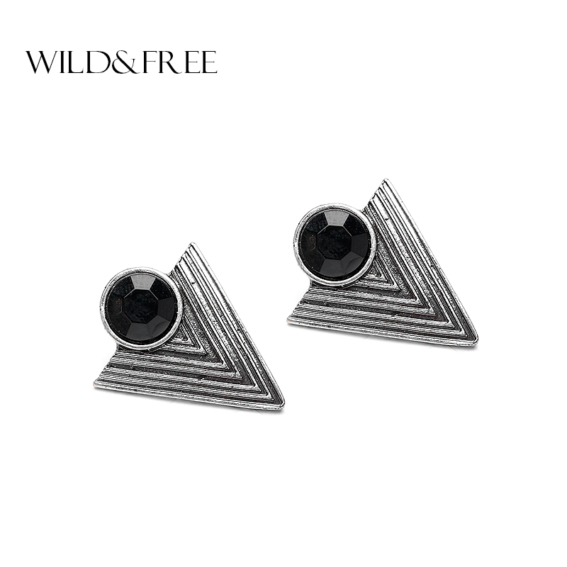 Women Vintage Black Triangle Stud Earrings With Resin Beads Antique Silver Geometric Shape Stud Earrings Jewelry for Women