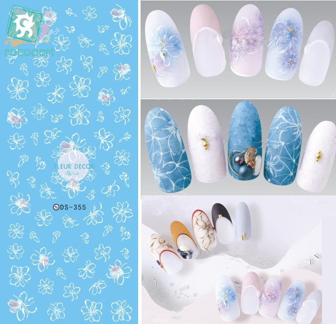 Rocooart DS355 Water Transfer Nails Art Sticker Magic Fantacy White Flowers Nail Wrap Sticker Manicura stickers for Nails ar350 2nd transfer screw nsrw 0033fczz ar351 355 3512 3511 3501