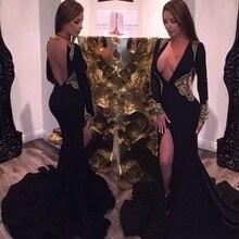 Tiefem v-ausschnitt schwarz abendkleider perlen gold kristall meerjungfrau mit langen ärmeln prom backless kleid vestidos de festa