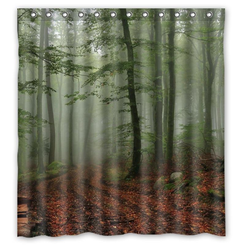 Art Forest Trees Print Custom Made Design Bath Curtain Waterproof Fabric Shower  Curtains 48x72, 60x72