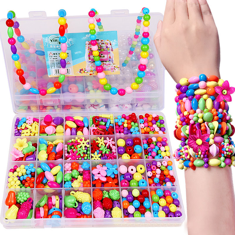 DIY Colorful Acrylic Beads Girls Puzzle Set Toy Jewelry Necklace Bracelet Handmade String Bead Girl Children Making Toys