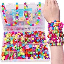Diy colorido contas de acrílico meninas puzzle conjunto brinquedo jóias colar pulseira artesanal cordão menina crianças fazendo brinquedos