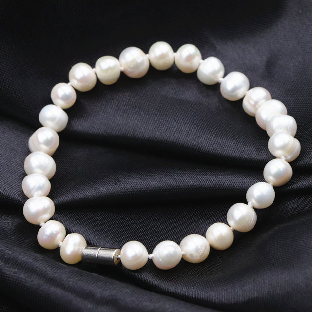 Charms Bracelet for Women Natural Freshwater Pearl Bracelets & Bangle Magnet Clasp White Pearls Beads Wrist Jewelry 7.5inch A759
