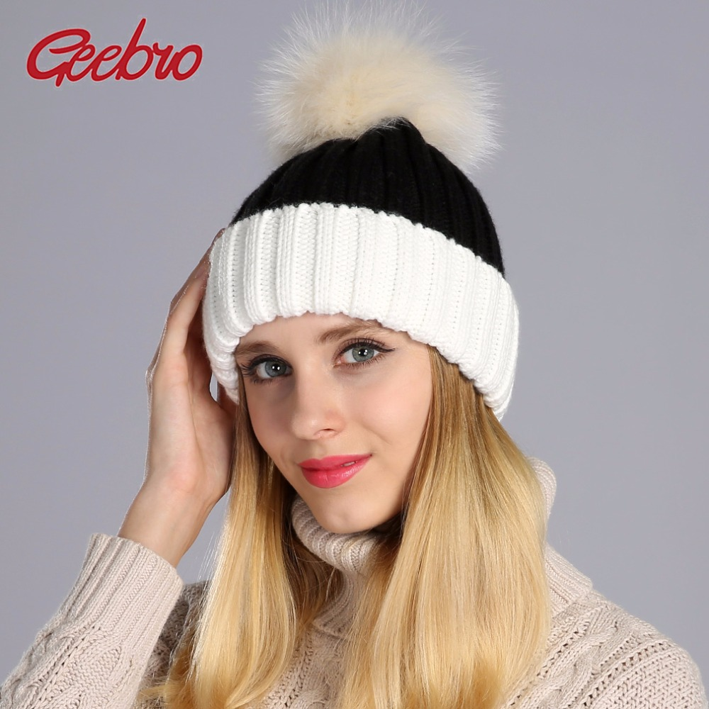Geebro Winter Women's   Beanie   Hat Casual Knitted Patchwork   Skullies     Beanies   With Real Fur Pom Pom Womens Raccoon Fur Pompon Hats