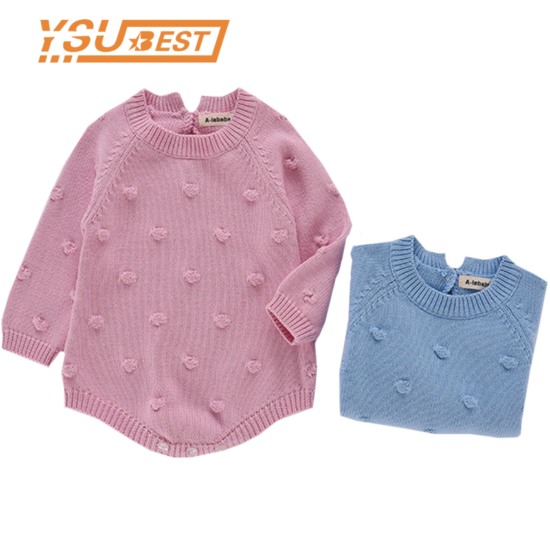 New 2019 Spring Pink Blue Baby Knitting   Romper   Cotton Newborn Jumpsuit Costume Infant Newborn Baby Girl Knit   Romper   Clothing