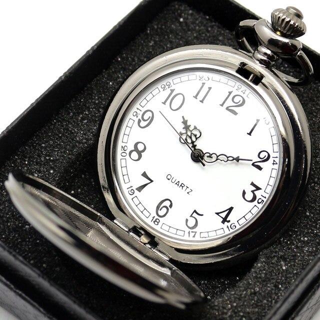 חלק שחור/כסף מקרה קוורץ שעון כיס מלא האנטר אריזת מתנה נשים גברים Fob שעון שעון סיטונאי relogio דה bolso