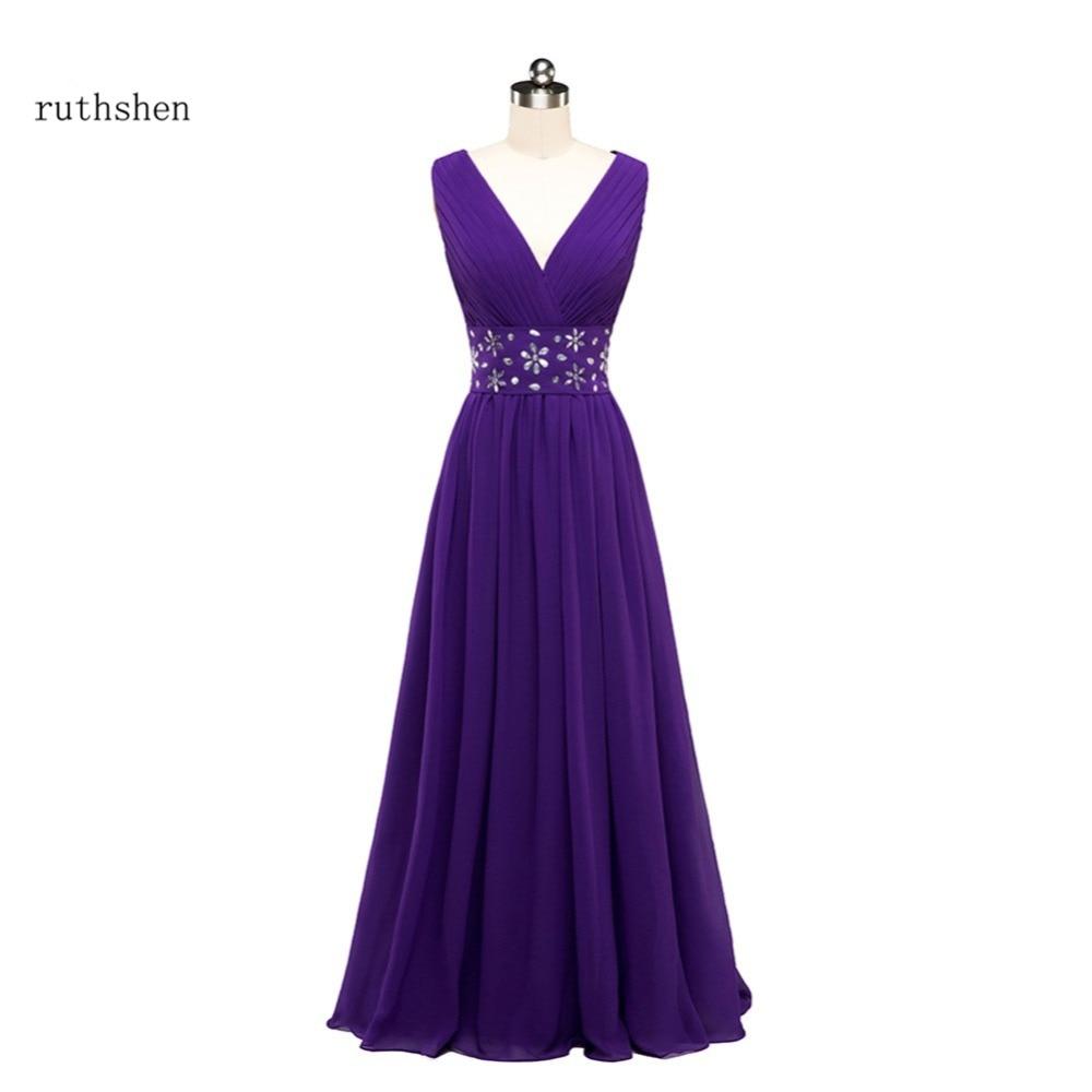 ruthshen Purple   Bridesmaid     Dresses   Long V-Neck Pleated Beaded Cheap Wedding Party   Dress   Real Photo Vestido Madrinha 2018
