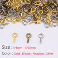 (Min Order 5$)100pcs Small Tiny Mini Eye Pins Eyepins Hooks Eyelets Screw Threaded Silver Clasps Hooks Jewelry Findings 8*3.5mm