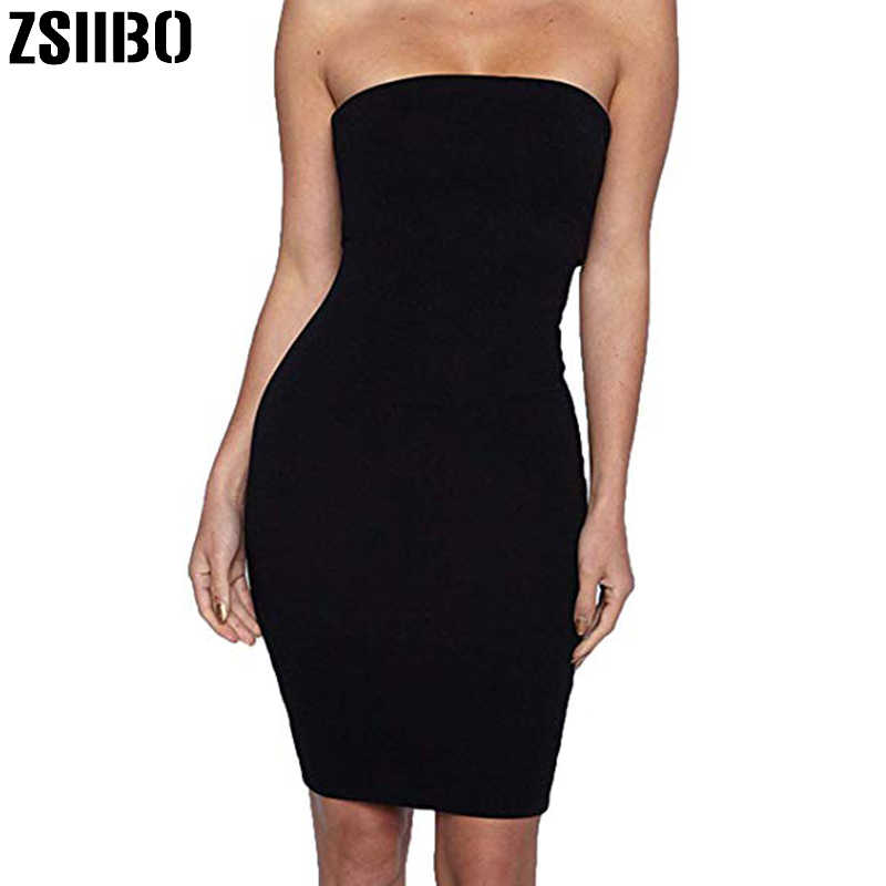 Zsiibo Sexy Bodycon Zomerjurk 2019 Vrouwen Jurk Strapless Stretchy Comfort Mini Dress Party Casual Drop Shipping