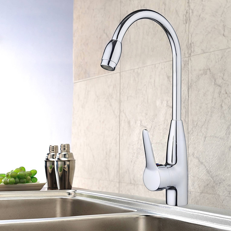Kitchen 360Degree Rotatable Spout Single Handle Sink Basin Faucet Hot/Cold Mixer Water Tap Basin Kitchen/Bath Wash Basin Faucet