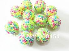 20mm 100 pcs/lot printemps couleur mixte résine strass boule perles, grosses perles pour enfants fabrication de bijoux