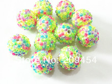 20mm 100pcs/lot  Spring Color Mixed Resin Rhinestone Ball Beads,Chunky Beads For Kids  Jewelry Making
