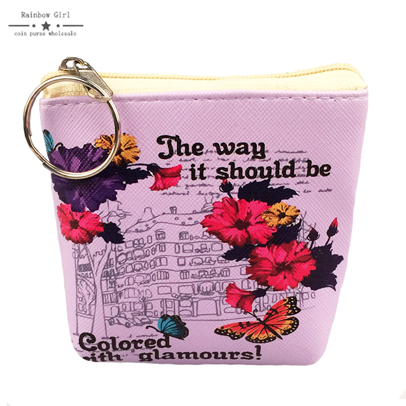 6pcs PU Leather High Quality Wallet Female Brand Fashion English Letter Coin Purse Printing Ladies Small Purse Coin Pocket Cute
