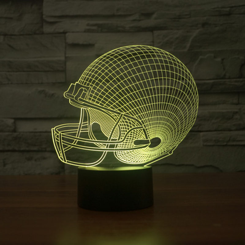 American Football Cap 3D Night Light 7 Colors Chaning Touch Light