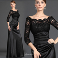 Aonita 2017 Black Lace Mermaid Evening Vestidos Longos Manga Três Quartos robe de soiree longue Foto Real Vestido Formal