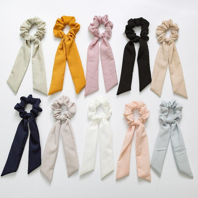 sunnee Bow Streamers Hair Ring Fashion Ribbon Girl Hair Bands Scrunchie Horsetail Tie Solid   Headwear   Hair Accessories