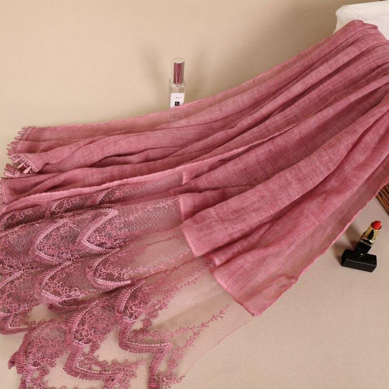 Laven High quality geometric lace soft cotton floral solid shawls hijab muslim headband plain scarves scarf