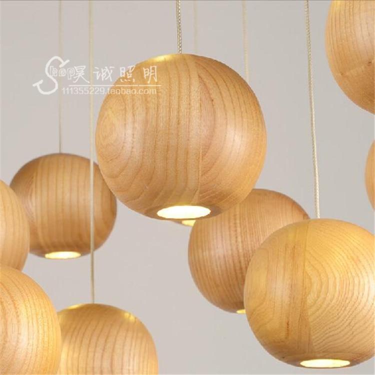 Japan Vintage Oak Wood Ball led pendant light Retro lamp wire G4 Cord Hanging light fixture for bar Restaurant Bedroom