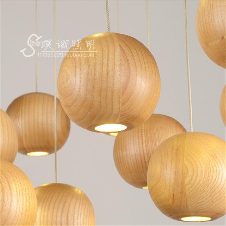 Japan Vintage Oak Wood Ball led pendant light Retro lamp wire G4 Cord Hanging light fixture for bar Restaurant Bedroom