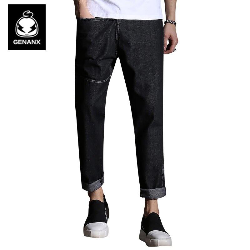 Genanx Brand Fashion Cotton Elastic Pants Male Personality Black And Gray Trousers Casual Men mens joggers 2017 brand male trousers men pants casual pants sweatpants jogger black xxxl adbbb
