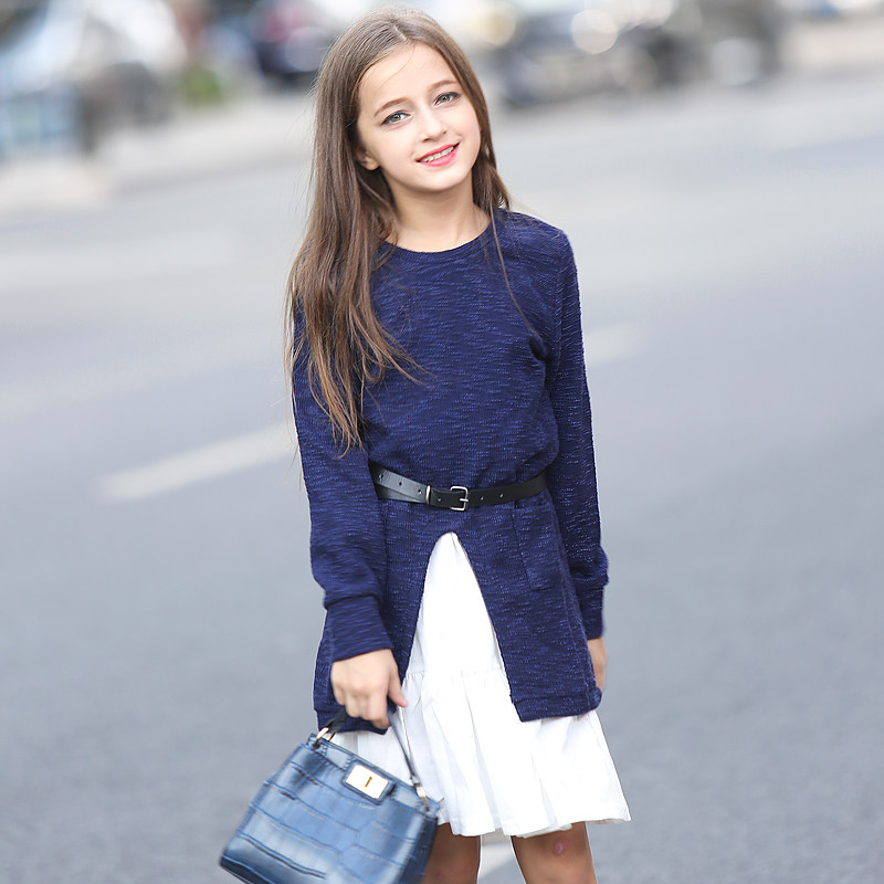 2016 Girls Winter Long Sweater Dress Thick Prom Kids Clothing Costumes Christmas Clothes Age 56789 10
